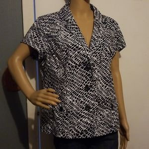 Dressbarn black and white  button up shirt